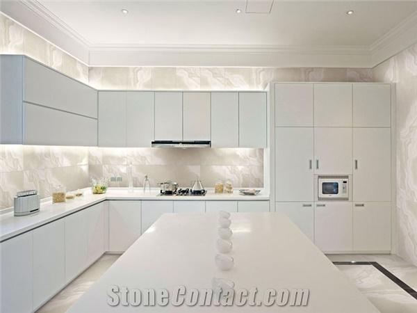 white nanoglass kitchen countertops - Eo Kitchen